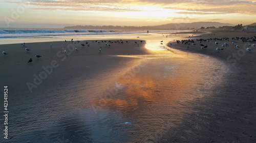 Photo Sunset over the beach at lowtide