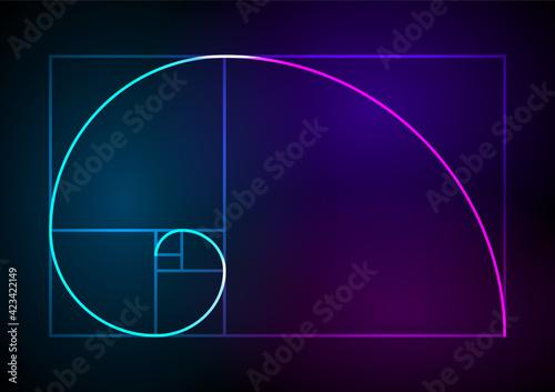 Obraz na plátne Golden ratio traditional proportions vector icon Fibonacci spiral