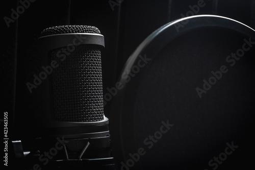 Stampa su Tela Close up black studio microphone with pop filter