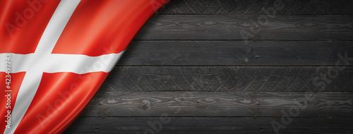 Photographie Danish flag on black wood wall banner