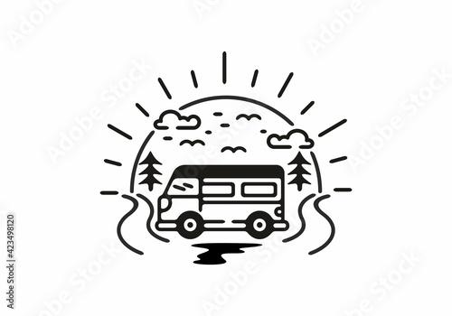 Obraz na płótnie Holiday with van badge illustration