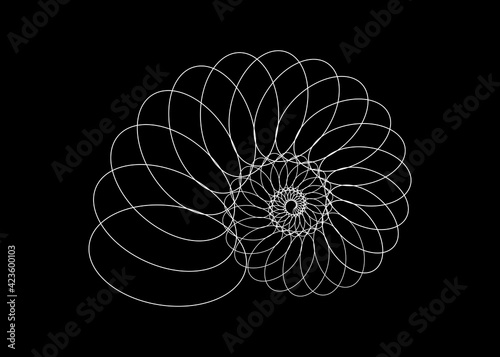 Snail spiral logo. Sea shell of white circles. Sacred geometry logo template. Logarithmic sequences. Fibonacci spiral logo design. Golden ratio. Flower of life. Divine proportion, isolated on black