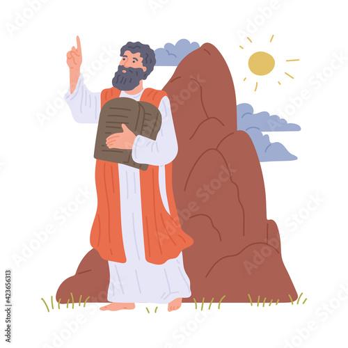 Fototapeta Prophet Moses hold stone tablets with commandments of god on mount sinai