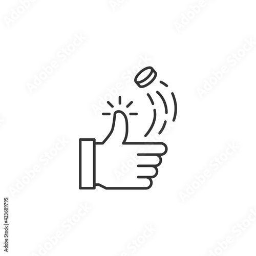 Fotografiet Coin Toss Related Vector Line Icon