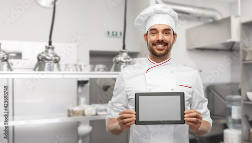Fotografiet cooking, culinary and people concept - happy smiling male chef in toque showing