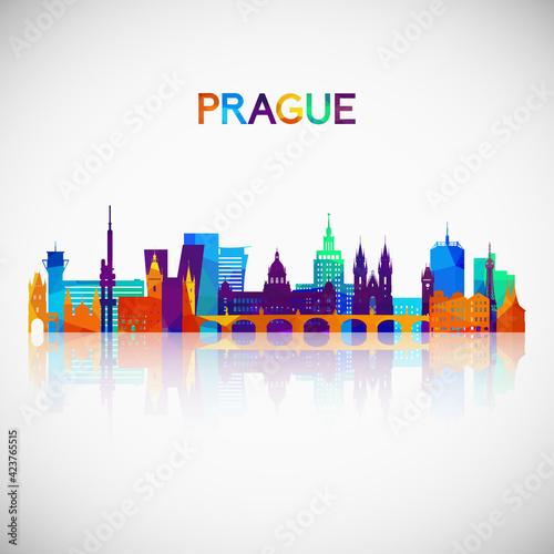 Fototapeta Prague skyline silhouette in colorful geometric style