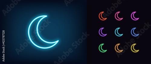 Fényképezés Neon crescent icon