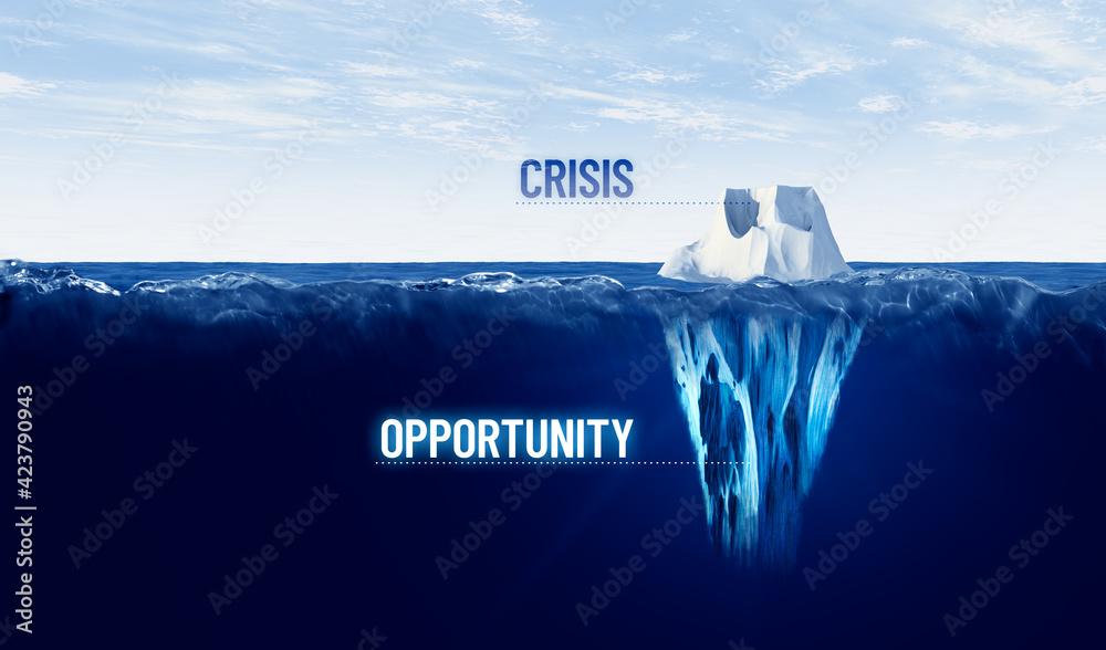 Leinwandbild Motiv - jirsak : Crisis is opportunity concept with iceberg, crisis is visible, opportunity is hidden