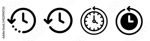History past events vector icon isolate on white background. Clock go back in time.