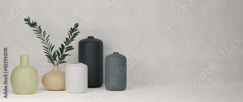 Leinwand Poster 3D rendering, Home decor ceramics vases and pot in grey background with copy spa