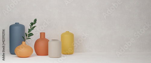 Foto 3D rendering, Colorful home decorated ceramics vases and pot on white background