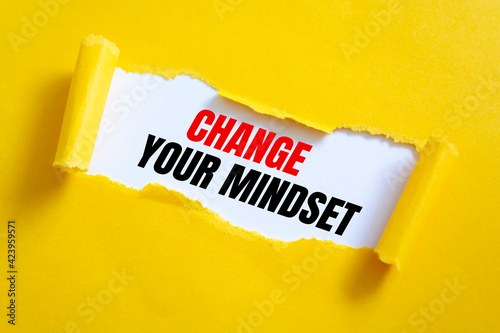 Slika na platnu Text Change Your Mindset appearing behind ripped yellow paper.