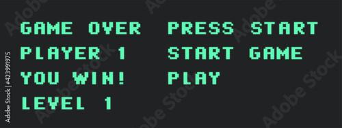 Fotografía Set of retro video game words. Pixel typography