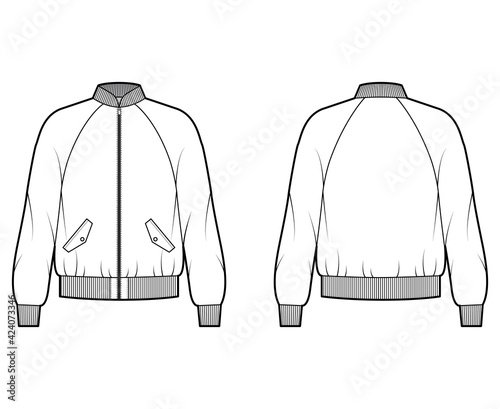 Obraz na płótnie Zip-up Bomber ma-1 flight jacket technical fashion illustration with Rib collar, cuffs, long raglan sleeves, flap pockets