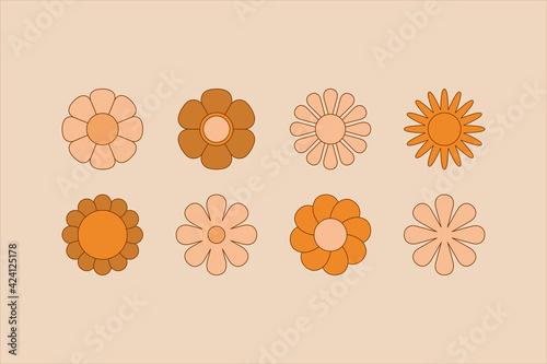Fototapeta Vector illustration in simple linear style - design templates - hippie style