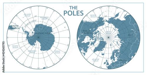 Obraz na plátně The Poles - North Pole and South Pole - Vector Detailed Illustration