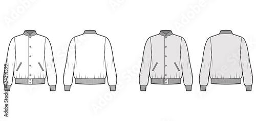 Varsity Bomber jacket technical fashion illustration with Rib baseball collar, cuffs, waistband, jetted pockets, buttons fastening Tapéta, Fotótapéta