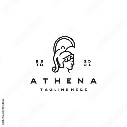 Obraz na plátně Goddess greek Athena Line art Logo Design template