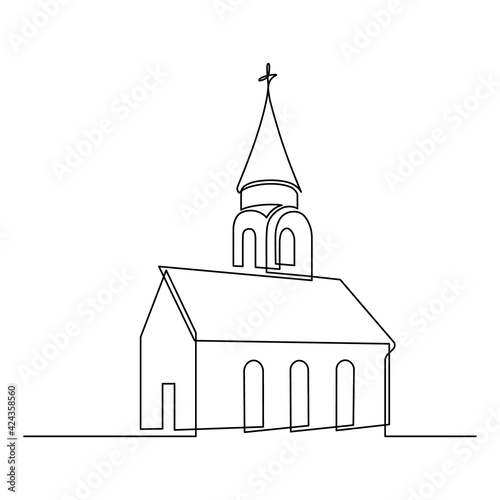 Obraz na plátne Church in continuous line art drawing style