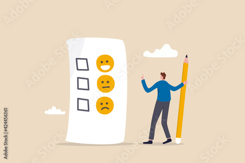 Stampa su Tela Customer rating, feedback from consumer for liking product and service concept, man holding pencil thinking about experience and giving rating on questionnaire with happy, neutral and angry faces