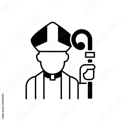 Billede på lærred Clergy black linear icon