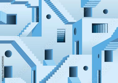 Foto Concept du labyrinthe surréaliste avec un dédale fait de portes et d'escaliers rendant un sortie impossible