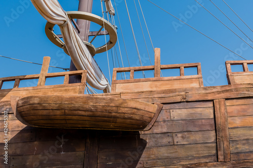 Fotomural Lifeboat on stern of replica 14th century British sailing vessel