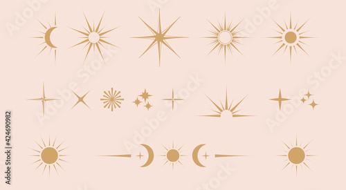 Fotografia Vector set of linear icons and symbols - stars, moon, sun -  abstract design ele