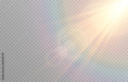 Fotografie, Tablou Vector golden light with glare