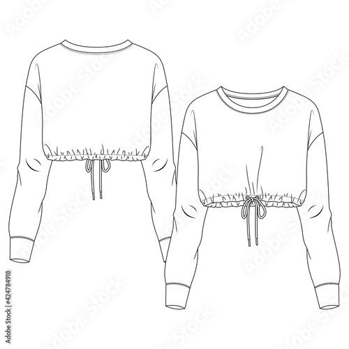 Women Long Sleeves Crop Sweatshirt fashion flat sketch template Fototapete