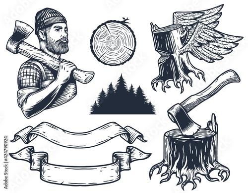 Lumberjack or logger with axe, ax of carpenter Tapéta, Fotótapéta