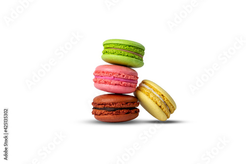 Fototapeta multicolored French pastry macarons isolated on white background