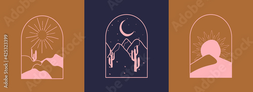 Fotografia Vector set of linear boho icons and symbols - sun, moon, stars logo design templ