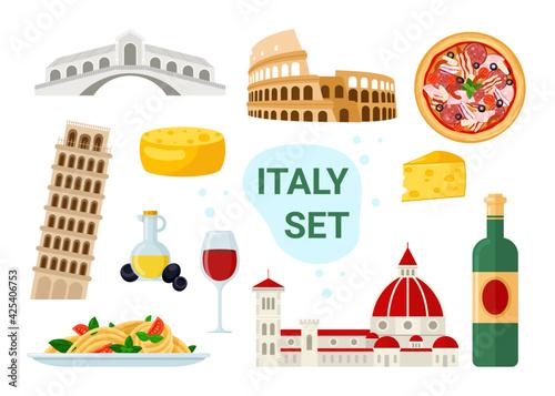 Fotografia Italy tourism set with famous italian food and drink menu, ancient travel landma