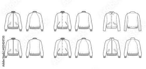 Fényképezés Set of Bomber jackets technical fashion illustration with Rib baseball collar, cuffs, oversized, long raglan sleeves, flap pockets