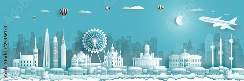 Finland architecture travel landmarks of Helsinki with Balloons and airplane.