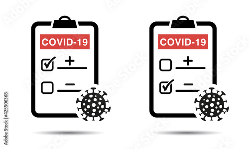 Tableau sur Toile Positve or negative testing result of Covid-19 Icon