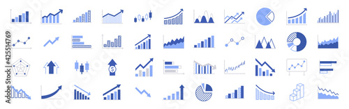 Fotografia Business graphs and charts icons
