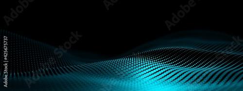 Fotografia Blue cyan wave points terrain or landscape over black background, technology or