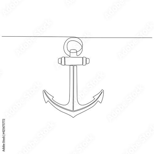Vászonkép sea anchor continuous line drawing vector illustration