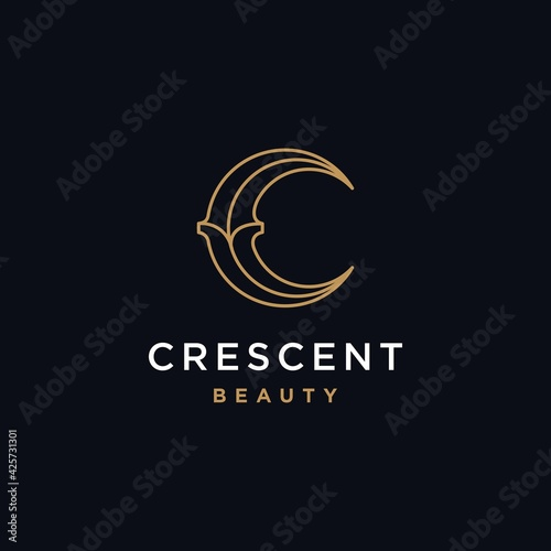 Valokuvatapetti elegant crescent moon and star logo design line icon vector in luxury style outl
