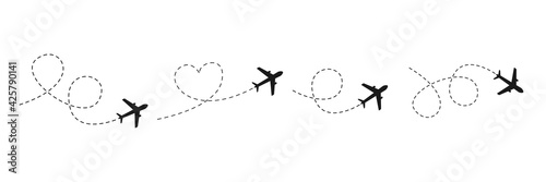 Valokuva Airplane line path icon