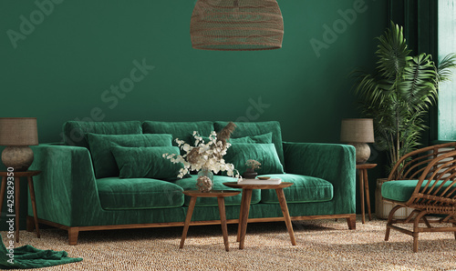 Cozy green home interior with green sofa, table and decor in living room, 3d render