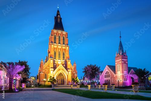 The church building on Haihua Island, Hainan, China Fotobehang