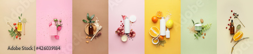 Set of natural cosmetic products on color background