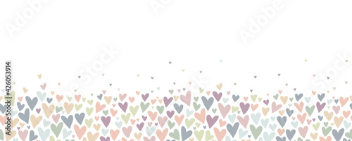 Lovely hand drawn doodle hearts seamless pattern, pastel colored hand drawn background, great for Valentine's or Mother's Day, textiles, banners, wrapping, wallpapers - vector design