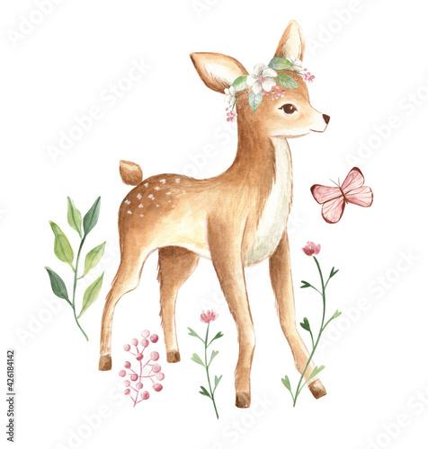 Fotografia Baby Deer watercolor floral illustration