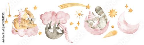 Photo Watercolor animals baby sleeping nursery Giraffe sloth squirrel girls pink