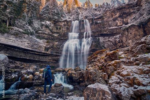 Beautiful Waterfall Vallesinella in Madonna di Campiglio in the autumn time, Nat Fotobehang