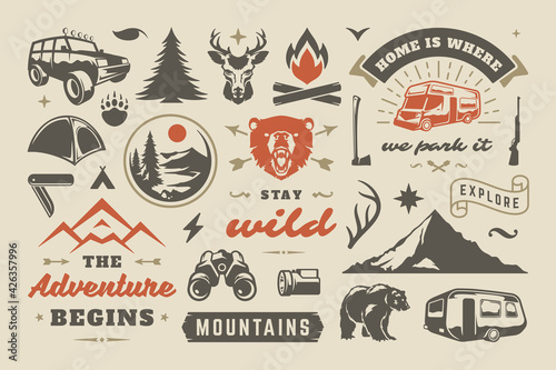 Summer camping and outdoor adventures design elements set, quotes and icons vector illustration Fototapete